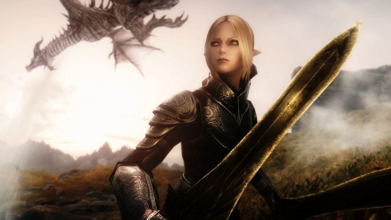 ELDER SCROLLS fantasy action rpg skyrim fighting warrior artwork dragon perfect sexy babe wallpaper