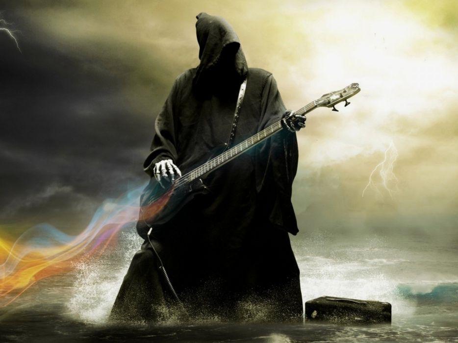 art artwork fantasy artistic original reaper guitar heavy metal dark wallpaper