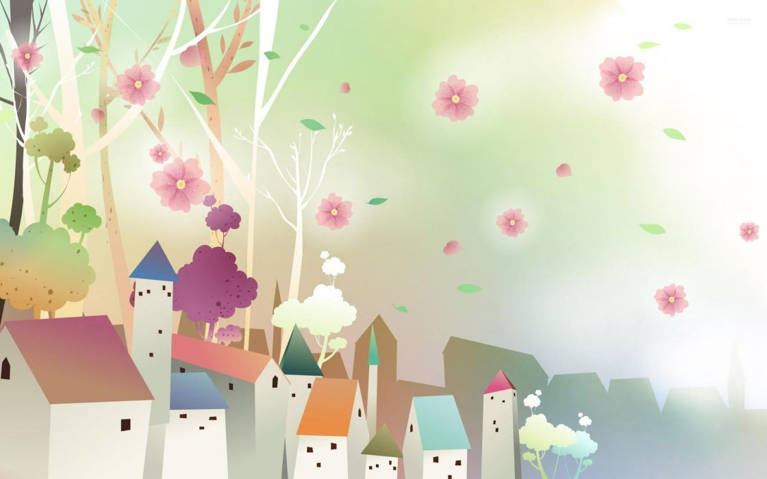 pink flowers floating above the city wallpaper