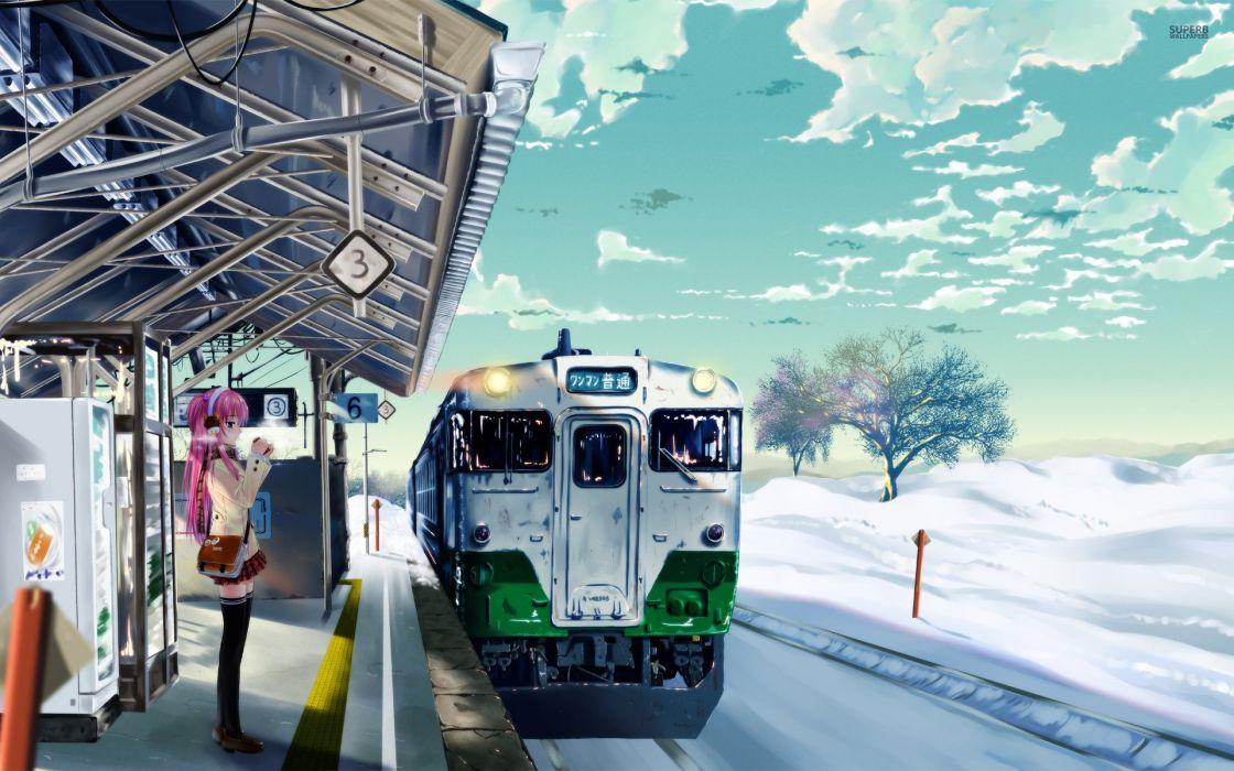 anime girl with pink hair waiting for the sky train wallpaper