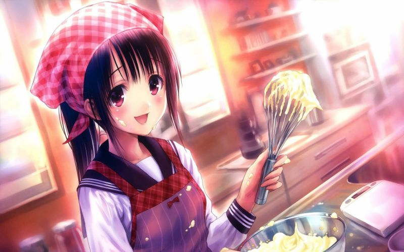 anime cute food Girl cooking in the kitchen wallpaper