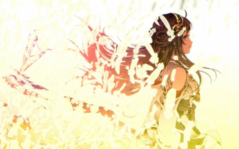 Girl surrounded feathers anime girl dress wallpaper