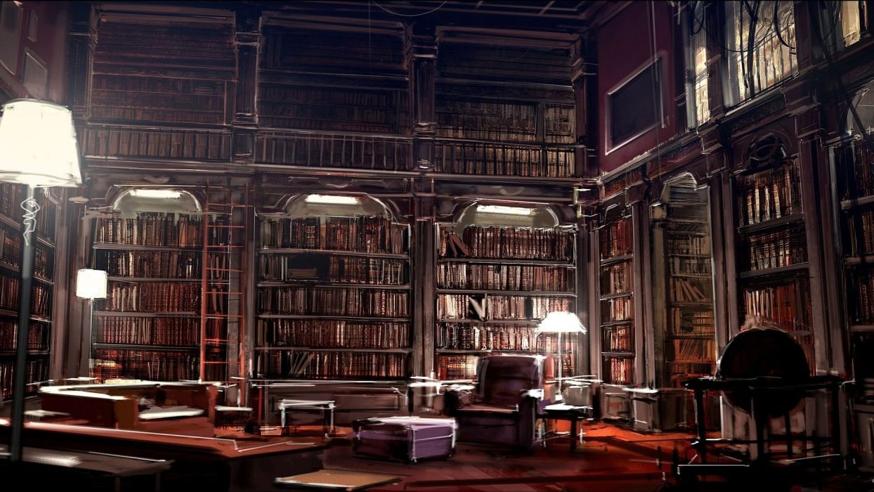 interior biblioteca libros muebles estanterias diseA wallpaper