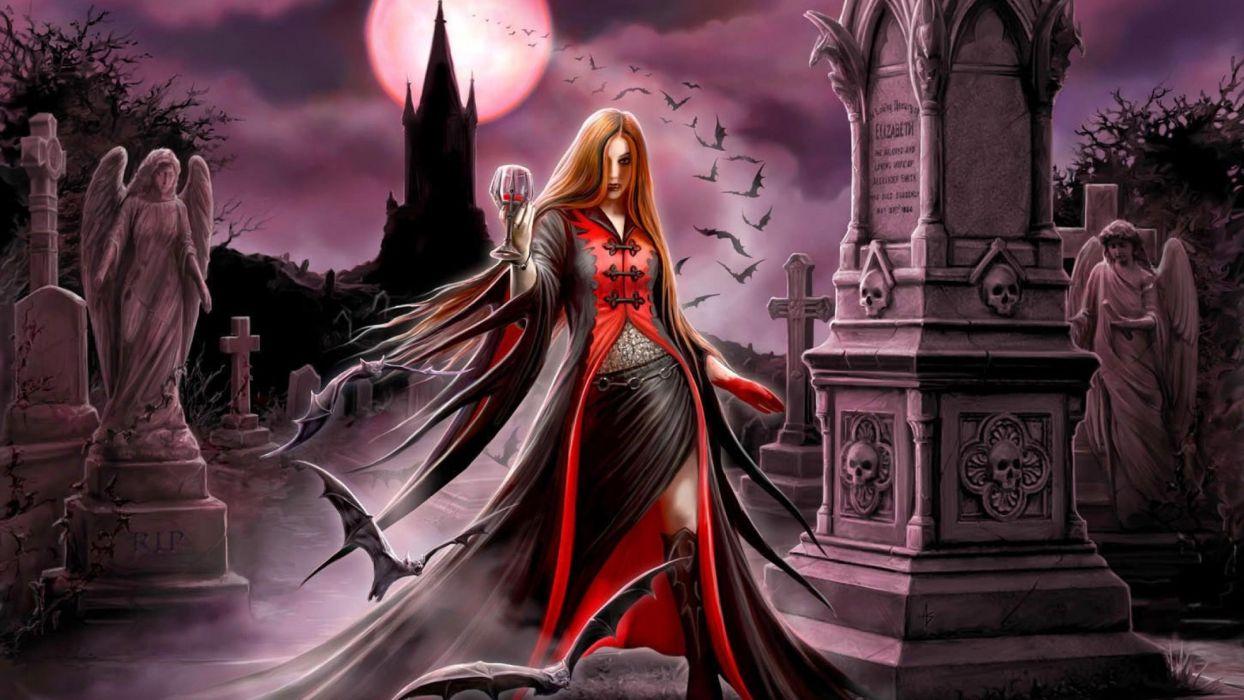 arte fantasia dama vampiro noche wallpaper