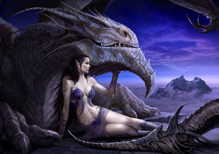 arte fantasia dama dragon bestia wallpaper
