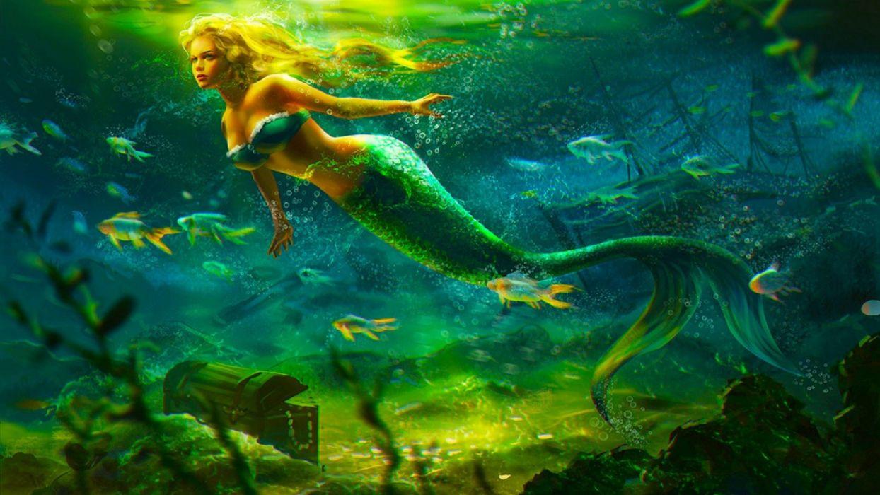 fantasia sirena mar tesoro peces wallpaper