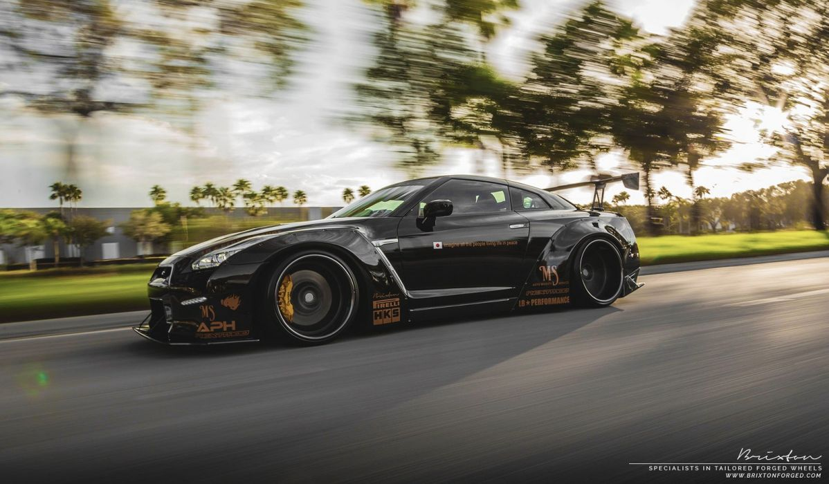 Brixton Forged Black Liberty Walk GTR cars modified wheels wallpaper