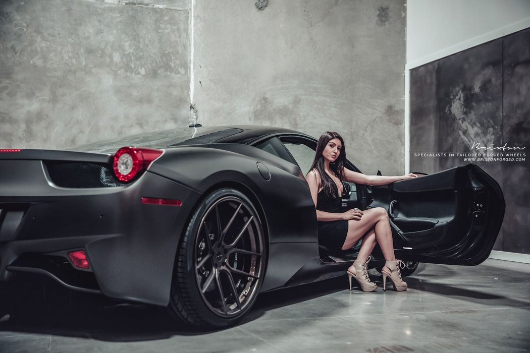 Brixton Forged Black Ferrari 458 Italia Cars Modified Wheels Wallpaper