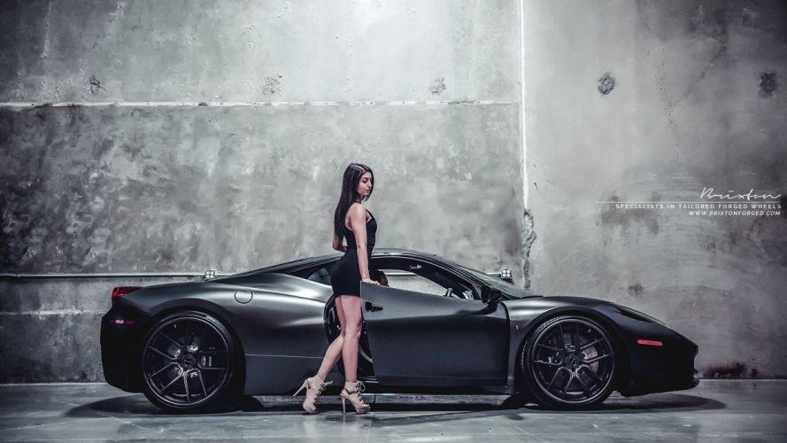 Brixton Forged Black Ferrari 458 Italia cars modified wheels wallpaper