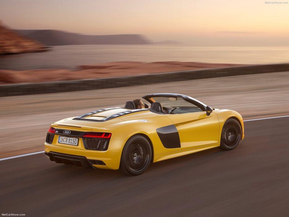 Audi R8 Spyder V10 cars yellow 2017 wallpaper