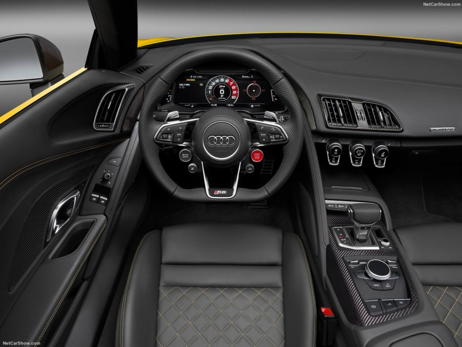 Audi R8 Spyder V10 cars yellow 2017 wallpaper