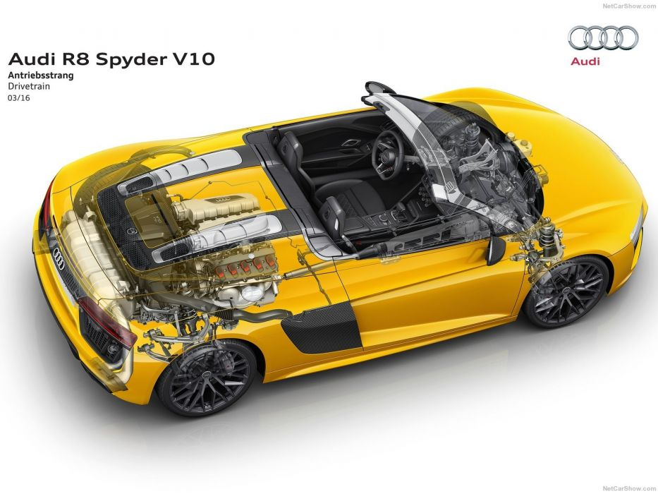 Audi R8 Spyder V10 cars yellow 2017 cutaway wallpaper