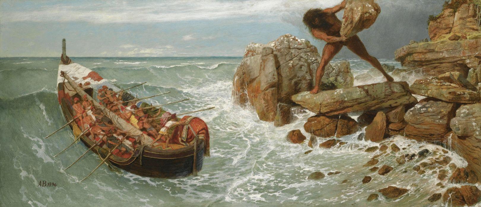 arte oleo ulises ciclope barco piedra wallpaper