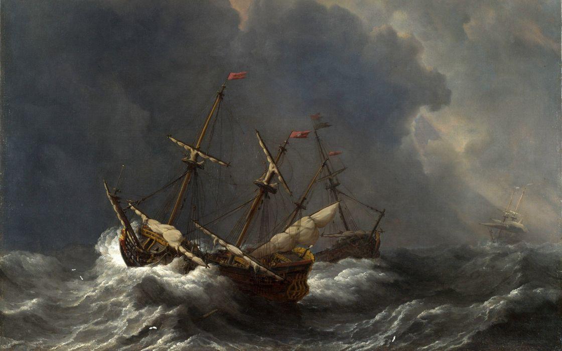 arte barroco navios tormenta carabelas mar wallpaper