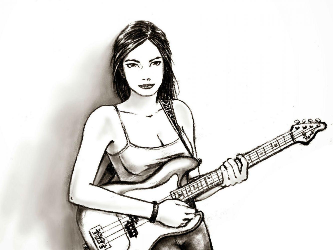 Картинки девушки с гитарой рисунок