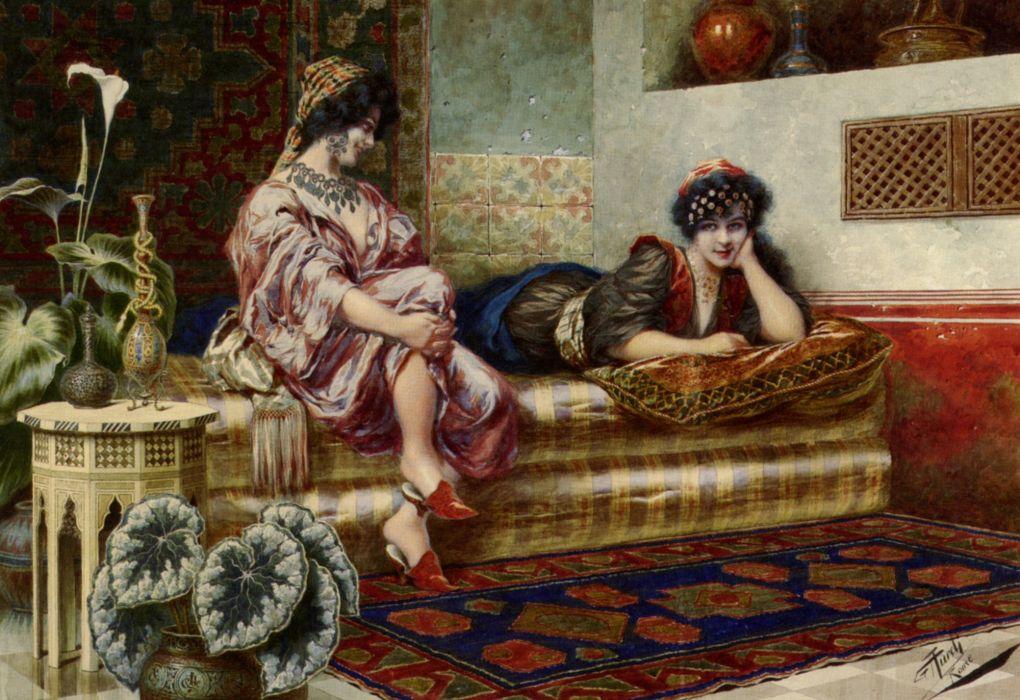 pintura arte mujeres harem wallpaper
