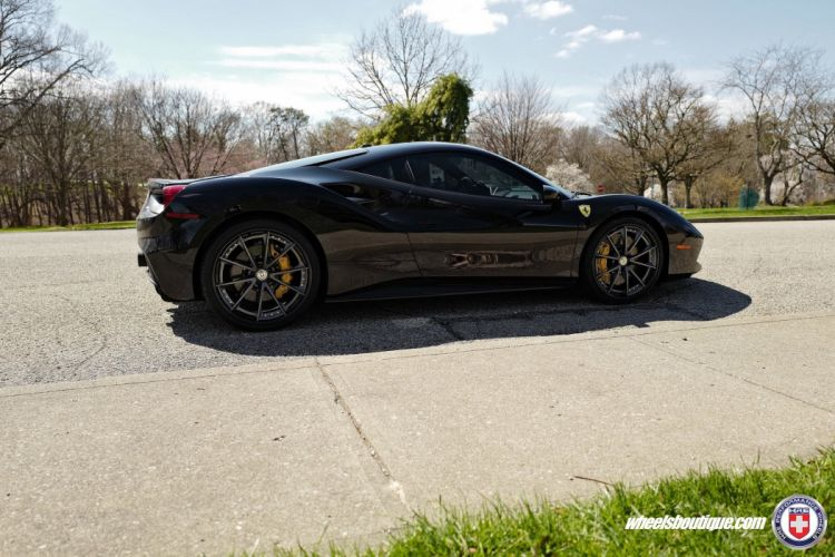 Ferrari 488 GTB HRE wheels cars black wallpaper