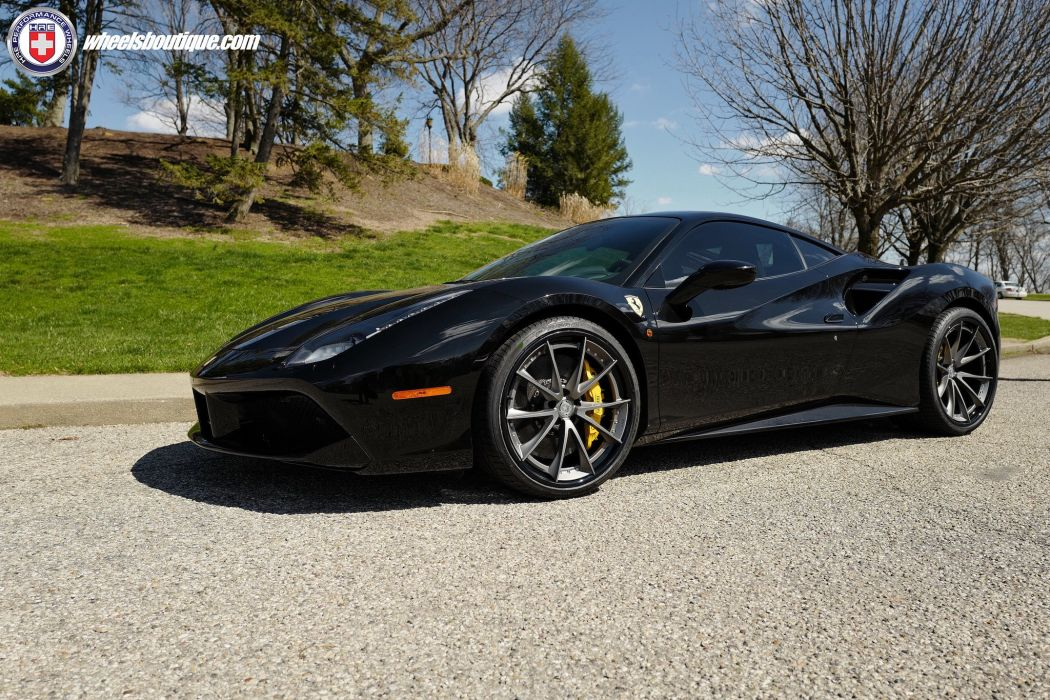 Ferrari 488 GTB HRE wheels cars black wallpaper
