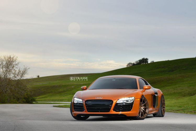 Orange Audi R8 strasse wheels cars wallpaper