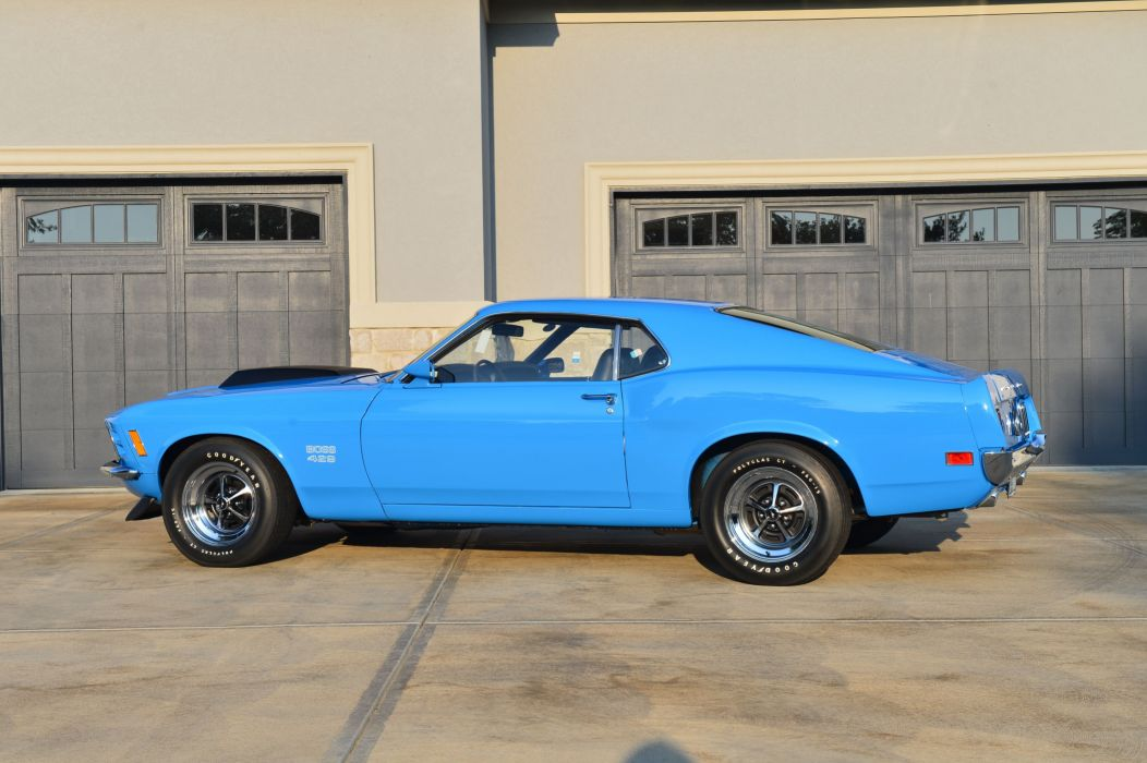 1970 Boss 429 Mustang cars blue wallpaper