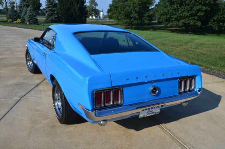 1970 Boss 429 Mustang cars blue wallpaper