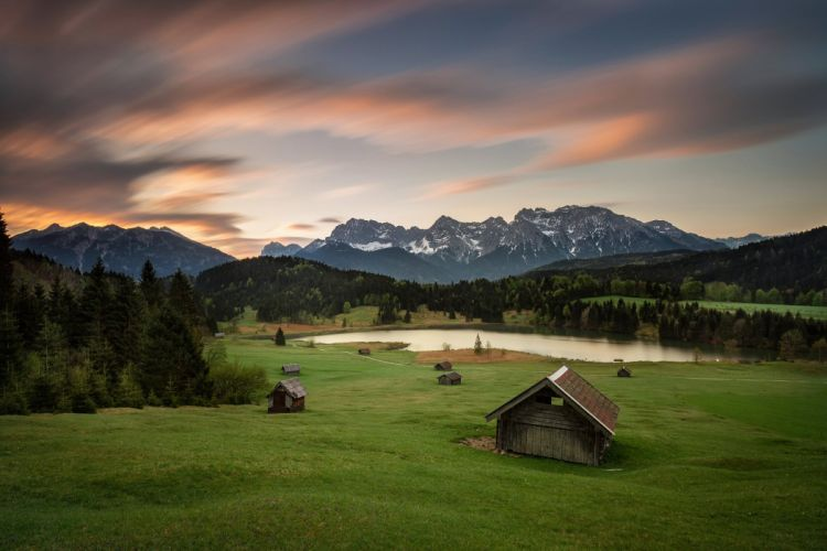 Germany Bavaria Alps mountains summer morning meadows houses wallpaper