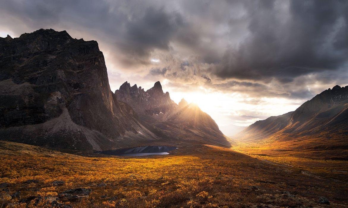 Yukon mountains autumn sunset rocks clouds wallpaper