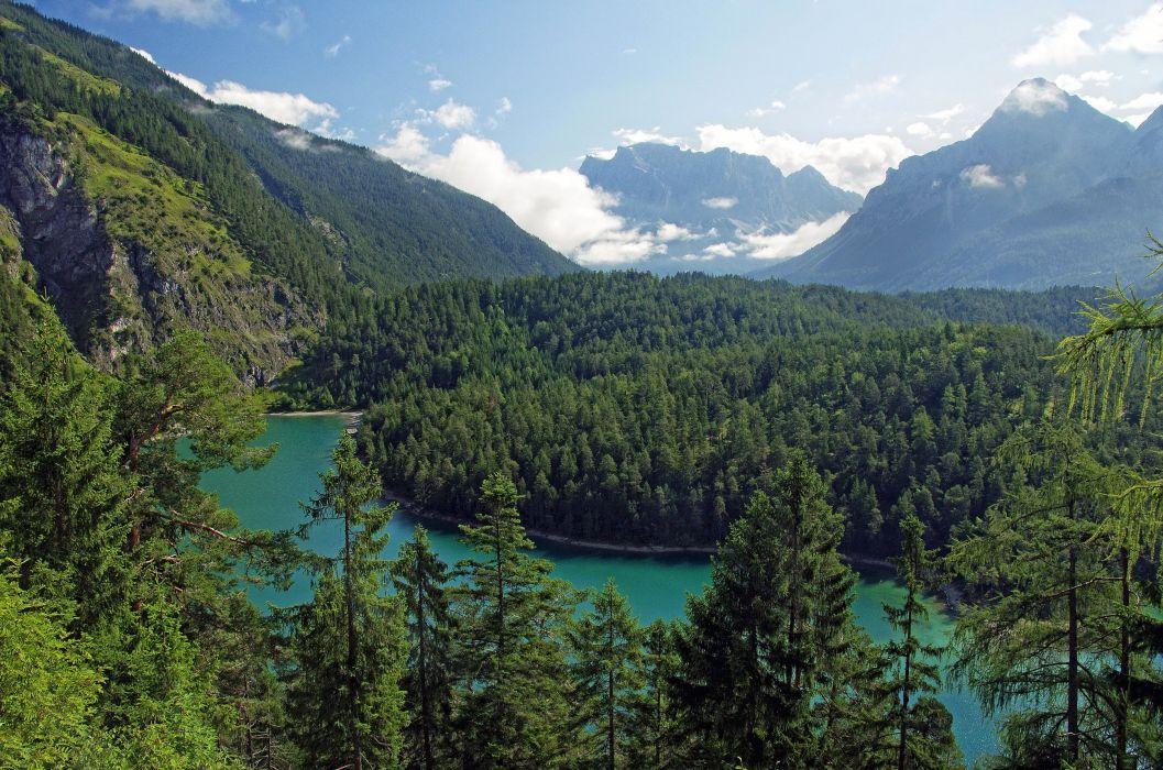 Austria Tyrol mountains forests clouds river trees wallpaper