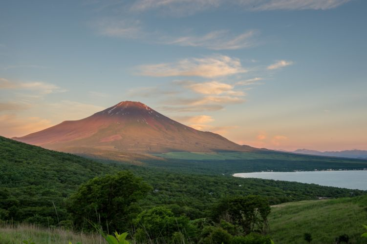 Japan Mountain Mount Fuji lake sky trees wallpaper
