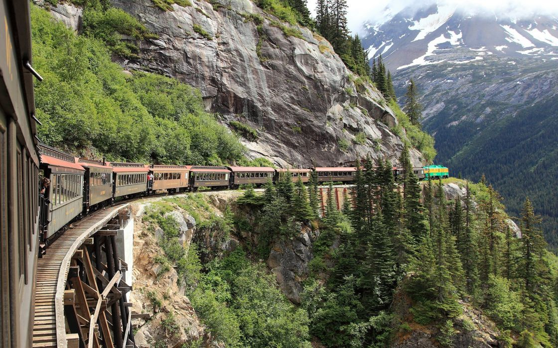 white pass railroad skagway alaska forest mountain wallpaper