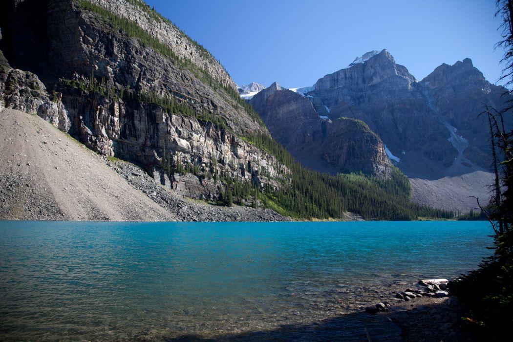 Canada Alberta sky mountains trees lake wallpaper