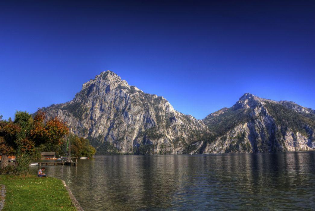 Lake Austria mountains landscape sky wallpaper