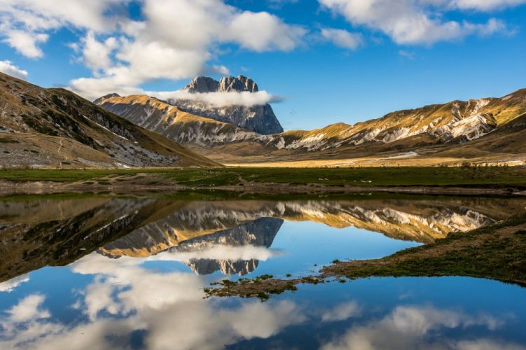 sky clouds mountain lake wallpaper