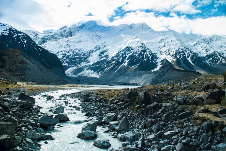 mountains snow river stream wallpaper