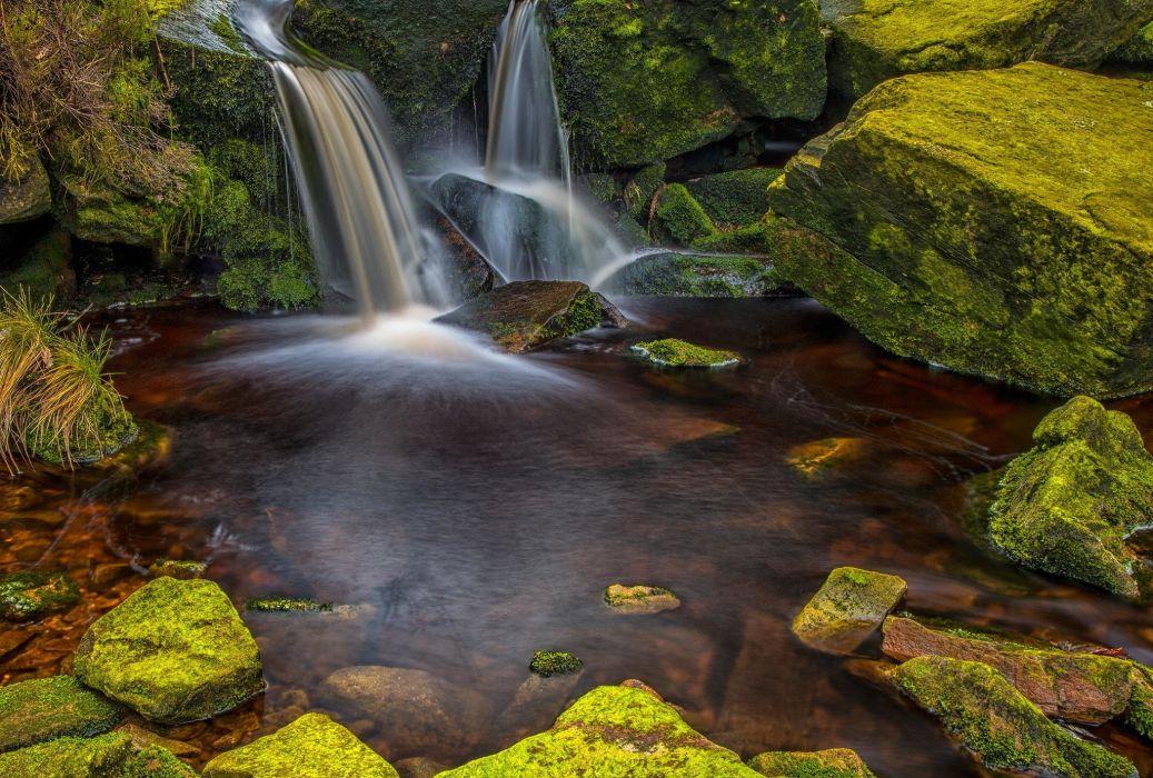 wood stones moss water waterfall wallpaper