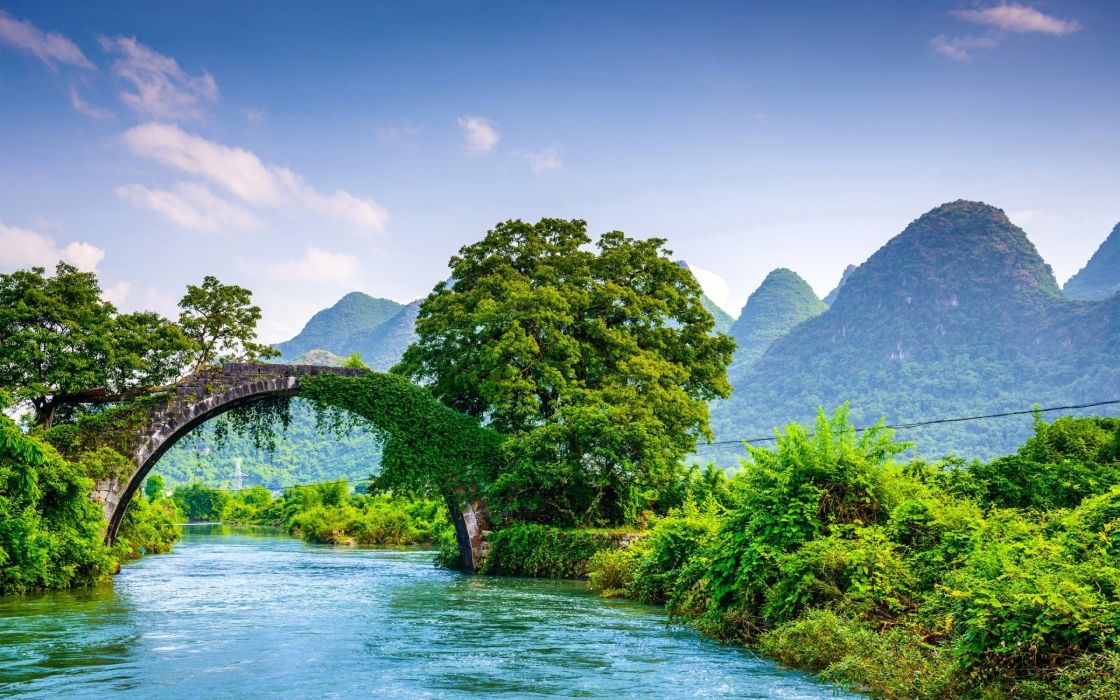bridge nature mountains wallpaper