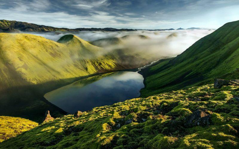 Mountains hills clouds fog wallpaper