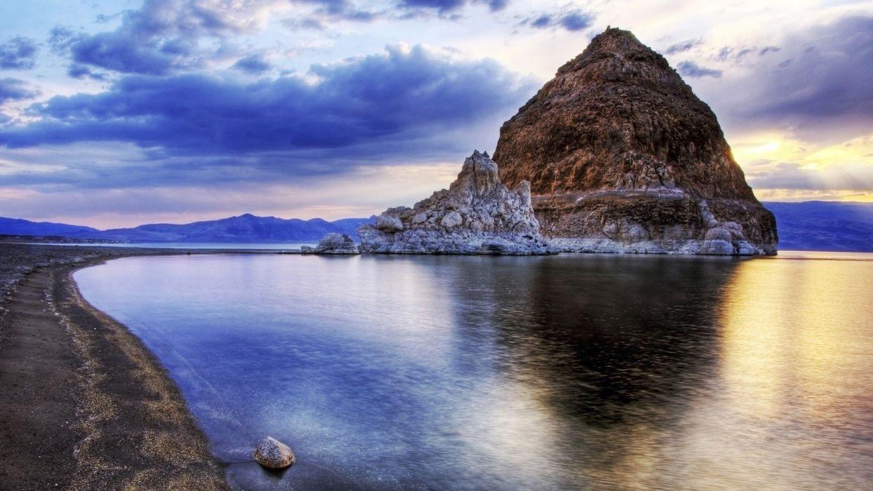 sky clouds lake mountain rock wallpaper