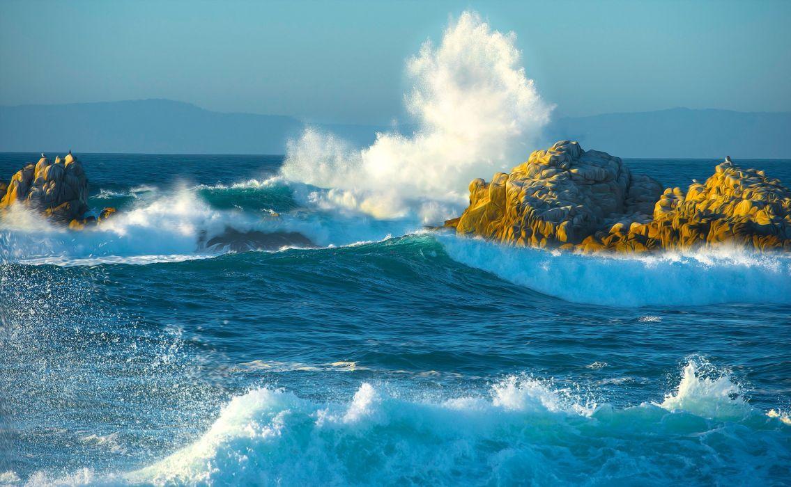 mountains sea storm stones rocks waves splashes wallpaper