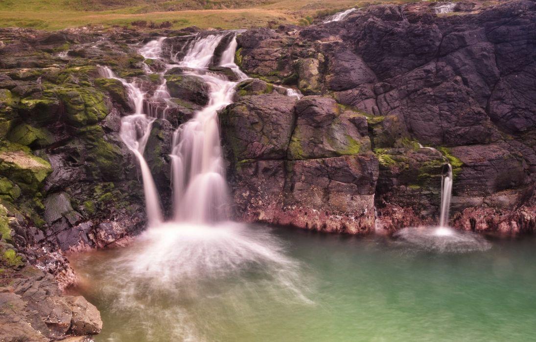 rock waterfall wallpaper