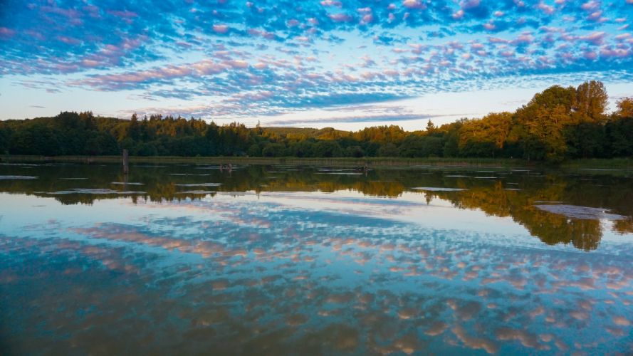 sky clouds trees autumn lake reflection wallpaper
