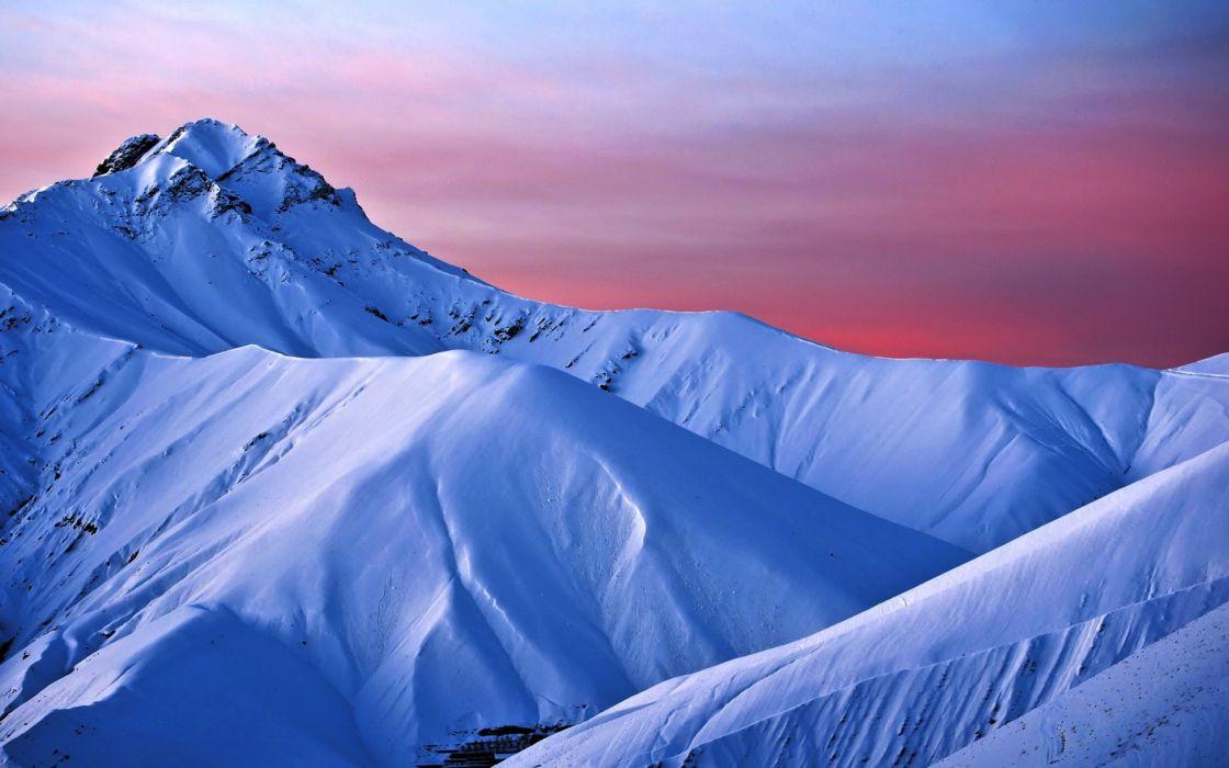 mountains winter sunset wallpaper