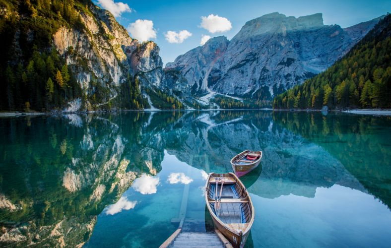 lake deck boat mountains mirror reflection wallpaper