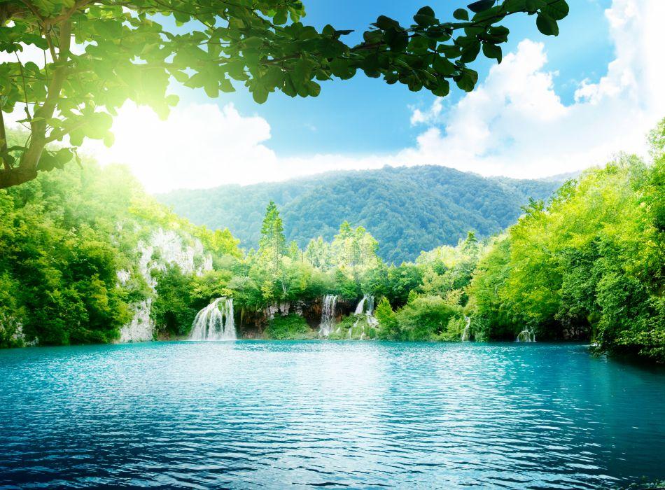 mountains trees waterfalls wallpaper