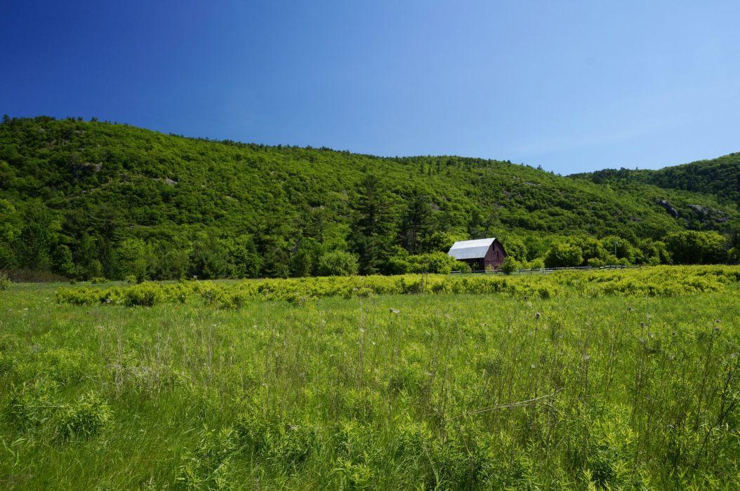 Canada Gatineau Park field hills grass trees herbs house wallpaper