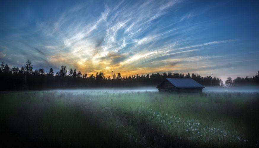 morning fog field house wallpaper