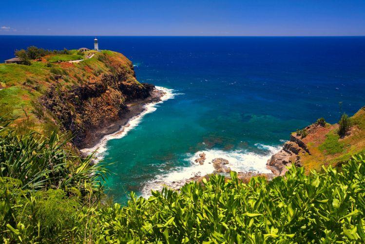 hawaii sky sea lighthouse cape horizon grass wallpaper