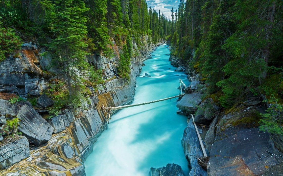 nature trees water forest green rocks canada river landscape turquoise wallpaper