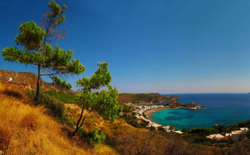 Greece Kapsali sea coast bay spit beach house jetty horizon wallpaper