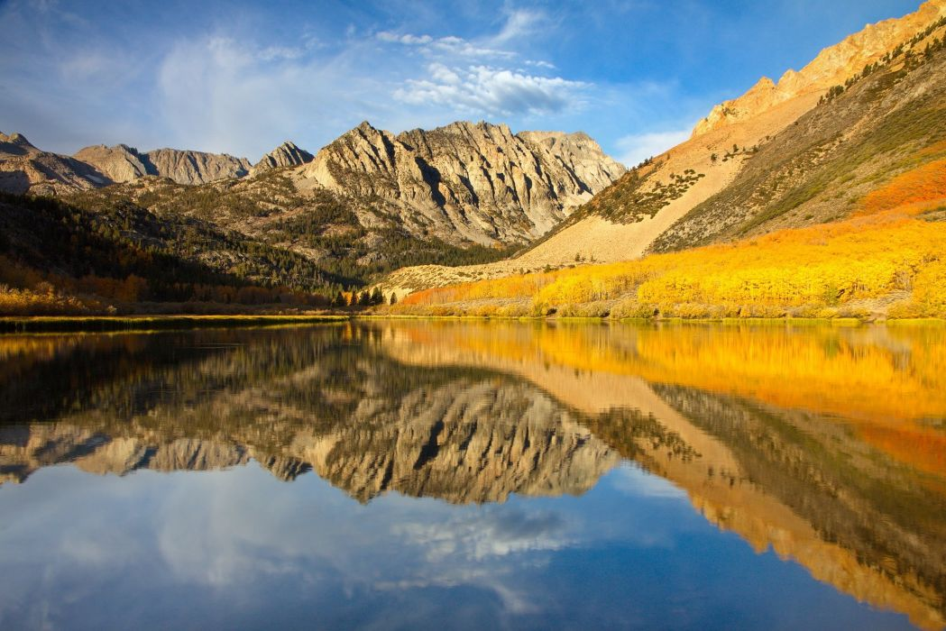 sky clouds mountains lake forest autumn wallpaper